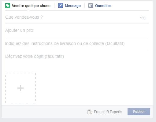 Le statut à créer : une annonce à remplir pour Facebook