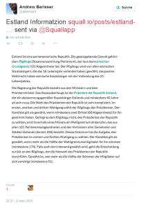 Une publication Twitter à partir de Squall.io
