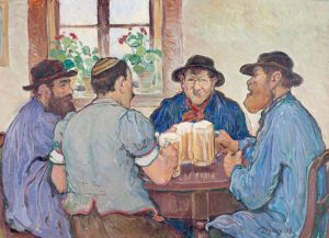 François Jaques: Peasants Enjoying Beer at Pub in Fribourg (Switzerland, 1923)